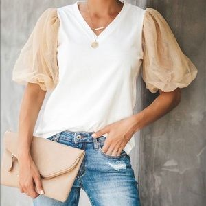 Vici Extra Glam Tulle sleeve top